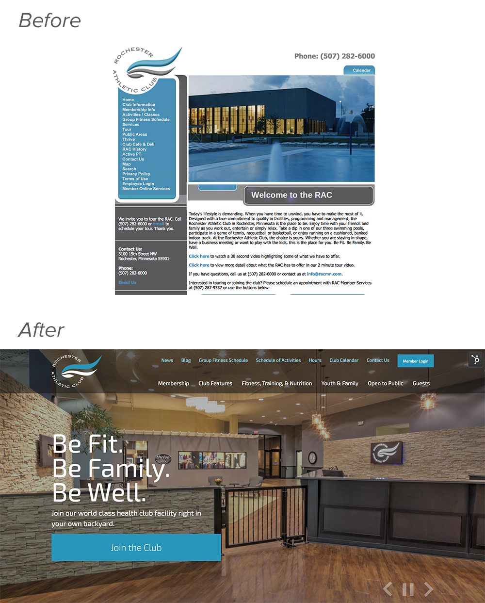 RACMN Website Design Before & After